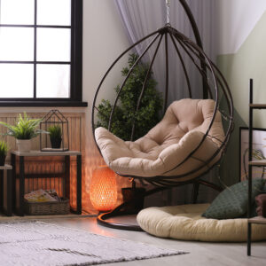 cosy corner interior design with a swing chair